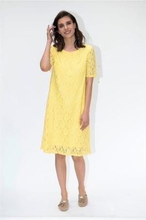 שמלת תחרה עם שרוולים קצרים