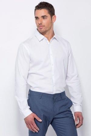 חולצת כפתרה עם טקסטורת פסים