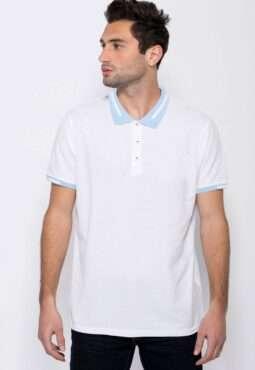 חולצת פולו עם צווארון פסים