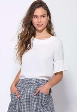 חולצת אריג עם שרוולי פפלום
