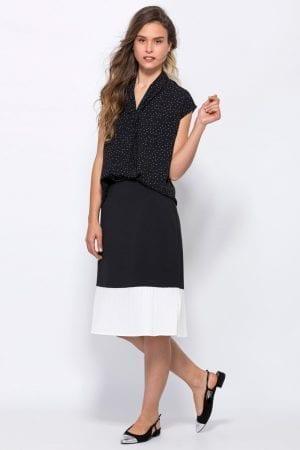 חצאית אריג סיומת פליסה בצבע קונטרסטי