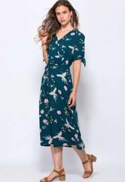 שמלת מחשוף מעטפת הדפס אול אובר