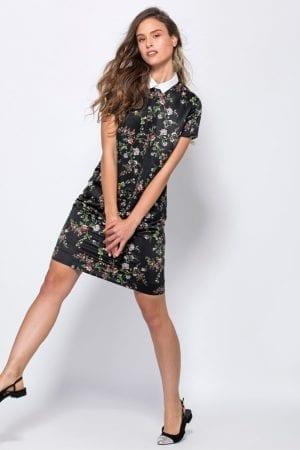 שמלה פרחונית עם צווארון פיטר פן