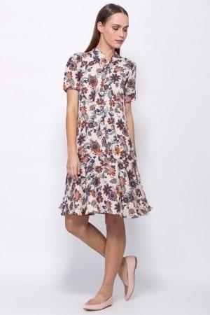 שמלת אריג פרחונית וסיומת פפלום
