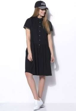שמלה בגזרת חולצת אריגה עם סיומת ריב