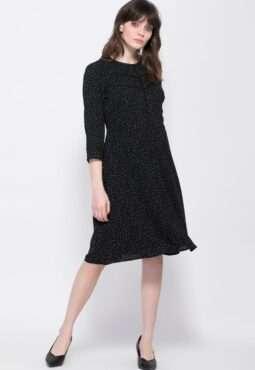 שמלה עם הדפס נקודות שרוול 3/4 באורך המרפק