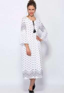 שמלה עם הדפס אתני ומחשוף קשירה