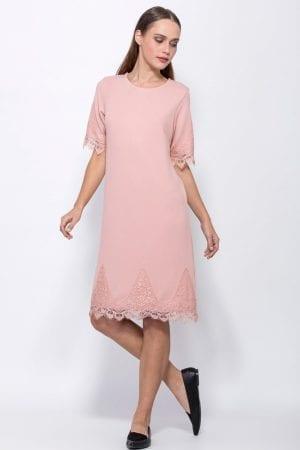 שמלה בגזרת A עם סיומת תחרה