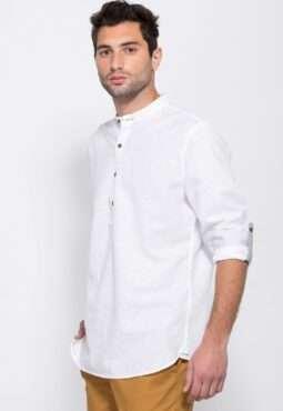 חולצת גלביה בשילוב פשתן