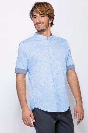 חולצת כפתרה צווארון סיני ושרוול קצר מקופל