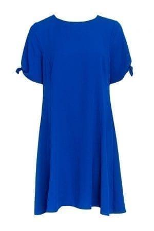 שמלת אריג שרוולים קצרים עם קשירה