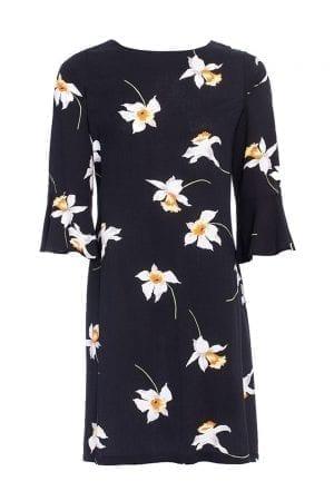 שמלה  פרחונית עם שרוולי פפלום