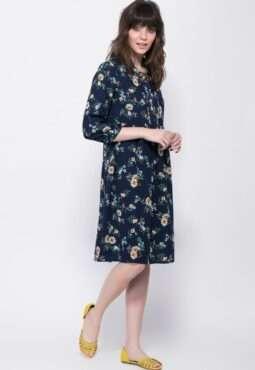 שמלה פרחונית עם מחשוף קשירה
