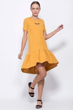 שמלת טקסטורה בשילוב שרשרת