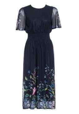שמלת רשת עם הדפס פרחוני צבעוני