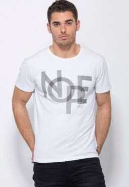 חולצת טי פיקה-לייקרה עם הדפס טיפוגרפי