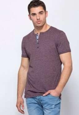 חולצת טי בטקסטורת מלאנג´ מפתח צוואר Y