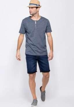 חולצת טי בטקסטורת מלאנג'