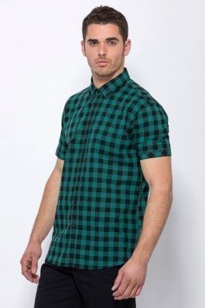 חולצת כפתורים משבצות ירוק/שחור