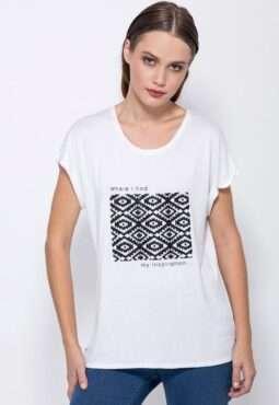 חולצת טי הדפס גרפי אתני