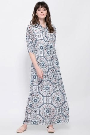שמלת  מקסי מודפסת מחשוף קשירה