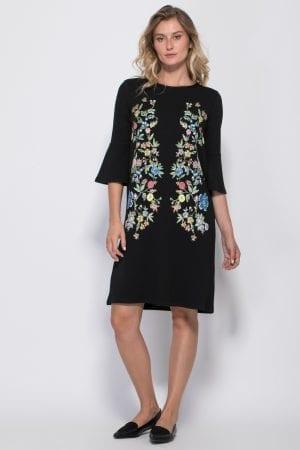שמלת סריג עם הדפס פרחוני ושרוולי בלון