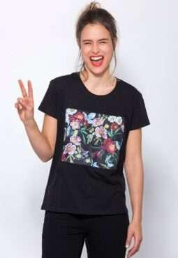 חולצת טי הדפס פרחים