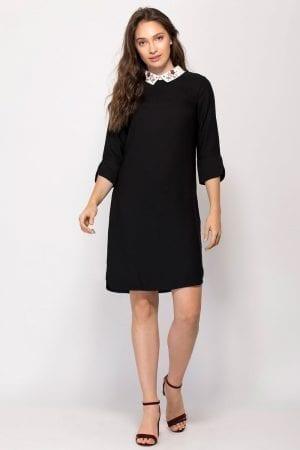 שמלה עם צווארון פיטר פן רקום