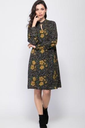 שמלת פעמון בשילוב הדפס פרחוני