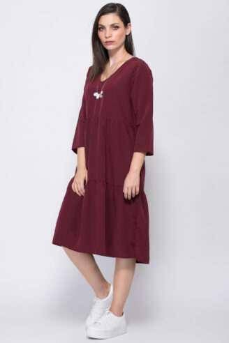 שמלת אריג מראה קומות בגזרה רחבה
