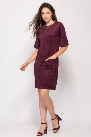 שמלה דמוי זמש עם כיסים קדמיים