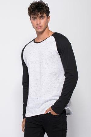 חולצת סריג בשילוב שרוולים בצבע קונטרסטי