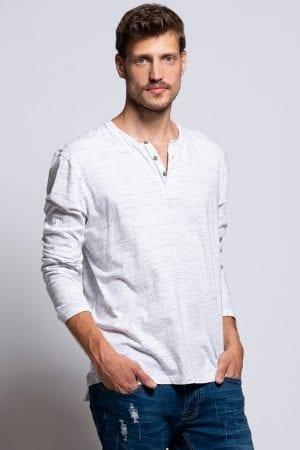 חולצת טי בטקסטורת מלאנג´