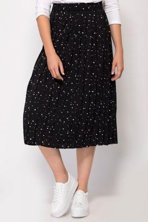 חצאית אריג פליסה הדפס לבבות אול אובר