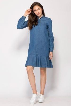 שמלה מבד ג´ינס דק ומכפלת פפלום