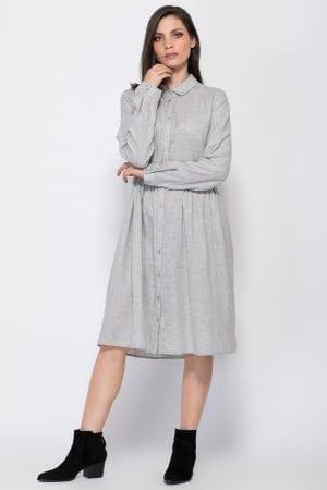 שמלת אריג אוברסייז כפתרה קדמית