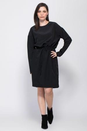שמלה אריג עם מותן קשירה דקורטיבית