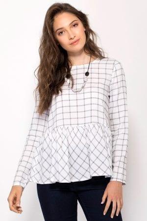 חולצת אריג משבצות סיומת פפלום