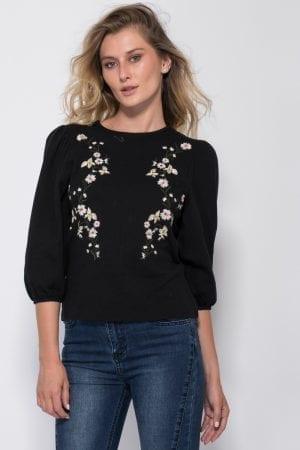 חולצת סריג שרוול בלון 3/4 ורקמת פרחים