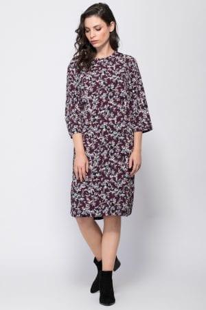שמלה עם הדפס אול אובר ושסעים במכפלת