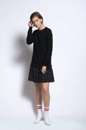 שמלת סריג בשילוב חצאית אריג פפלום