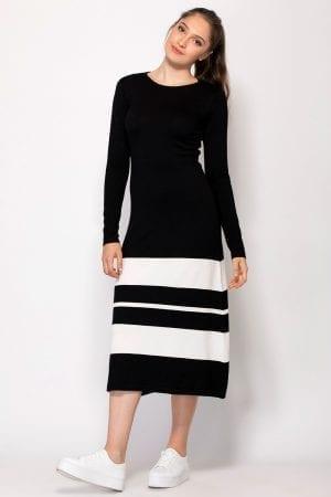 שמלת סריג שילוב פסים בצבע קונטרסטי