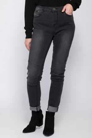 מכנסי ג'ינס סקיני בשילוב רוכסן
