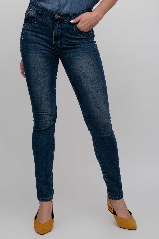 מכנסי ג'ינס סקיני בשילוב אבני קריסטל
