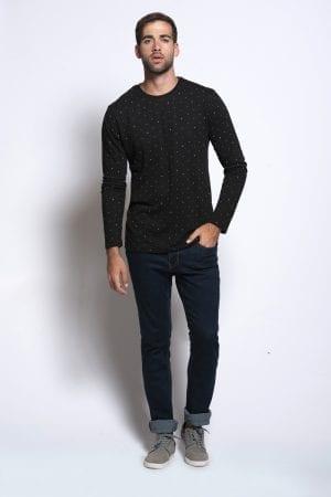 גבר חולצה סריג  שרוול ארוך מלנש