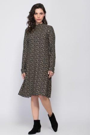 שמלת סריג הדפס בצבע קונטרסטי אול אובר