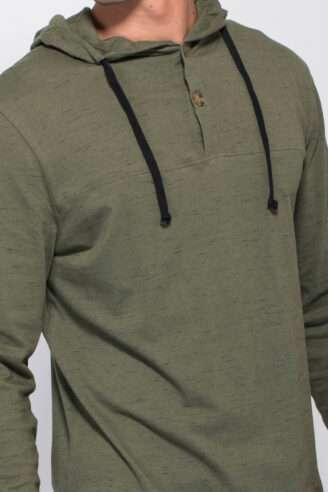 חולצת סריג בטקסטורת מלאנז' עם קפוצ'ון