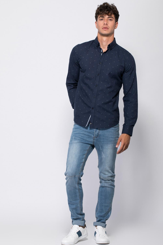 חולצה מכופתרת אוקספורד עם הדפס אול אובר
