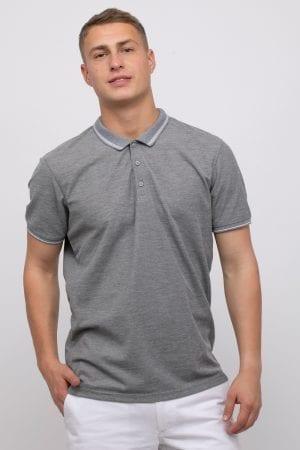 חולצת פולו פיקה בשילוב פסים בצבע קונטרסטי
