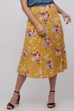 חצאית אריג פליסה הדפס פרחוני אול אובר